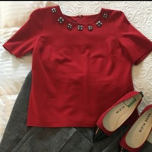 Talbots Red Ponte Jewel neck blouse top career